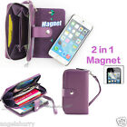 Purple Zip Purse Leather Case Cover For Apple iPhone 4S 4+Film