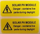 Electrical Safety Warning Labels - SOLAR PV MODULE - Yellow 50mm x 20mm