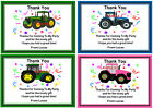 10 PERSONALISED TRACTOR THANK YOU CARDS + ENVELOPES  Ref 01 - 01