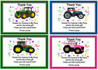 10 PERSONALISED TRACTOR THANK YOU NOTES + ENVELOPES  Ref 01 - 01