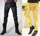 Men Slim Fit Casual Faux Leather Pants Motocycle Cool Trousers Gold Silver Black