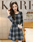 Fashion Autumn Winter Elegant Grid Korean Style OL Womens Big Size Mini Dress
