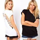 1PC Womens Casual Short Sleeve Hollow T-Shirt Backless Top Wing Back Tide New