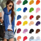 Colorful Women's Soft Wrinkle Long Cotton Crinkle Scarf Shawl Candy 20 Colors
