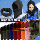 Warm 6 in1 Fleece Thermal Neck Balaclava Hood Swat Ski Bike Motorcycle Face Mask