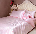 4~7 pcs Seamless Jacquard Silk Duvet Cover Fitted Sheet Pillow shams Set Pink