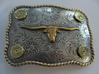 BELT BUCKLE  TEXAS LONGHORN WESTERN MANY CALIBERS RIFLE-PISTOL- SHOTGUN SHELLS
