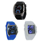 Fashion Aviation Turbo Dial Flash LED Watch Gift Mens Lady Sports Car Meter Tide