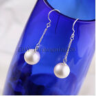 Woman gift AAA 7-8mm 8-9mm 9-10mm white round natural akoya pearl earrings s446