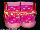 NEW BABY GIRLS RUBBER NON SLIP SNEAKER SHOE 18-24 MONTHS PINK SHOE DOT HEARTS