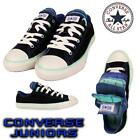 Converse Junior Girls Black Canvas Multi Tongue Casual Lace up Shoes Size1 2 3 4
