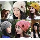 Winter Korean Women Warm Button Crochet Knit Beret Beanie Ski Ball Wool Hat Cap