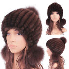 Real Farm Mink Fur Hat Cap  Warm Knitted  Fur Hats Top Earflaps Earmuffs Stylish