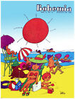 4968.Bohemia.people at beach under red sun.POSTER.Decoration.Graphic Art