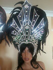 SAMBA Costume Giant Headpiece 2 Colors / Designs- Real Feathers Headdress OUTFIT