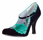 RUBY SHOO POPPY BLACK TURQUOISE MARY JANE VINTAGE STYLE HIGH HEEL SHOES SIZE 3-8