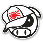 2 x 15cm JDM Evil Pig Vinyl Sticker iPad Laptop Car Drift Dub Japan Decal #4960