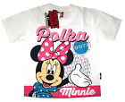 Girls DISNEY MINNIE MOUSE white cotton summer t-shirt S-XL Age 4-8 yrs Free Ship