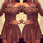 Sexy Ladies Summer  Leopard Bodycon Bandage Long Sleeve Cocktail Prom Mini Dress