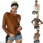 810 GORGEOUS STYLISH CROPPED ZIP WAIST LEATHER LOOK SHORT JACKET SIZE S M L