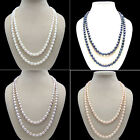 s057 AA 8-9mm oval black white pink purple fresh water pearl necklace best gift