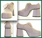 MENS  WHITE 1970S STYLE PLATFORMS FANCY DRESS PIMP GLAM ROCK SHOES SIZE 9 10 11