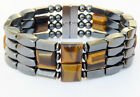 Men's SPORTSMAN SERIES Magnetic Hematite TIGER EYE CROSS Bracelet 4 row 7/8""
