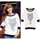Women Ladies Casual Half Sleeve Blouse T-shirt Batwing Casual Owl Printed Shirt