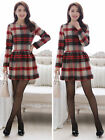 Fashion Winter Spring Elegant V-Neck Grid Long Sleeve Womens Slim Woolen Dress