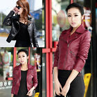 D Chic Women Ladies Synthetic Leather Jacket Short Slim Coat Motorcycle 2 Colors