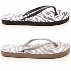 LADIES WOMENS FLIP FLOP SANDALS POOL HOLIDAY BEACH ZEBRA TOEPOST SIZE