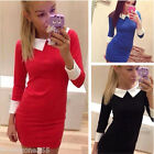 Vintage Womens Bodycon Pencil Office Party Peter Pan Collar Career Casual Dress