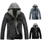 Fashion Mens Vintage Denim Jacket Hooded Motorcycle Winter Warm Coat Outerwear