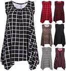 Womens Stripe Animal Tartan Print Ladies Sleeveless Uneven Hem Jumper Long Top