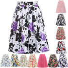 POP Floral Print Housewife Vintage 50s Rockabilly Mid Pleated Pinup Skirt Dress