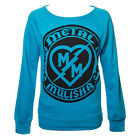Metal Mulisha Maidens Aqua Blue Bolt Crew Neck Fleece Sweatshirt