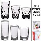 18pc Drinking Glass Ware Cup Set Includes 6 High Ball, 6 Medium & 6 Tumblers