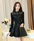 Graceful Womens Spring Autumn Lace Stitching Long Sleeve Faux Leather Mini Dress