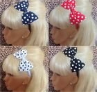 "♥ BIG 5"" SIDE BOW COTTON POLKA DOT SPOT ALICE HAIR BAND HEADBAND 50s GLAMOUR"