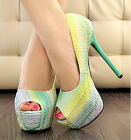 Lady Women Popular Lovely Design Multi Color High Platforms Open Toe Shoes UK JB