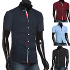 Hot Mens Slim Fit Dress Shirts Casual Button Designer Tops Short Sleeve S M L XL