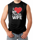 I Love My Crazy Wife - Couple Heart Funny V-Day Men's SLEEVELESS T-shirt