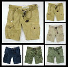 New Abercrombie & Fitch A&F by hollister Men Classic Cargo Shorts W belt Vintage