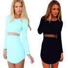 Women Bodycon Slim Fit Casual Office Work Mesh Cocktail Evening Party Mini Dress