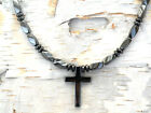 Men's black Powerful Magnetic Hematite CROSS NECKLACE STRONG Clasp Free Shipping