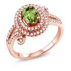 2.05 Ct Oval Green Peridot 925 Rose Gold Plated Silver Ring