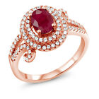 2.27 Ct Oval Natural Red Ruby 925 Rose Gold Plated Silver Ring