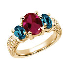 3.49 Ct Red Created Ruby London Blue Topaz  YG Plated Silver  Ring