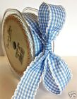 Gingham Ribbon with White Lace Edge Ribbon ♥ 25mm ♥ Pink or Blue
