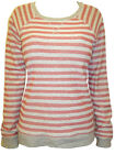 New M&S Woman Grey & Rust Striped Casual Cotton Jumper Plus Size 18 20